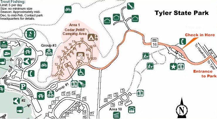 Tyler State Park Map Maps to Tyler State Park Camp Meeting